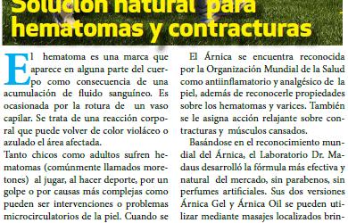 Nota Clarín: Solución natural  para hematomas y contracturas musculares