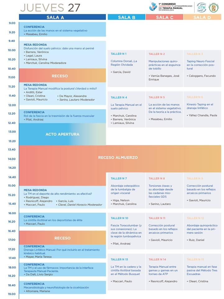 Congreso TMK - Programa preliminar - Jueves 27