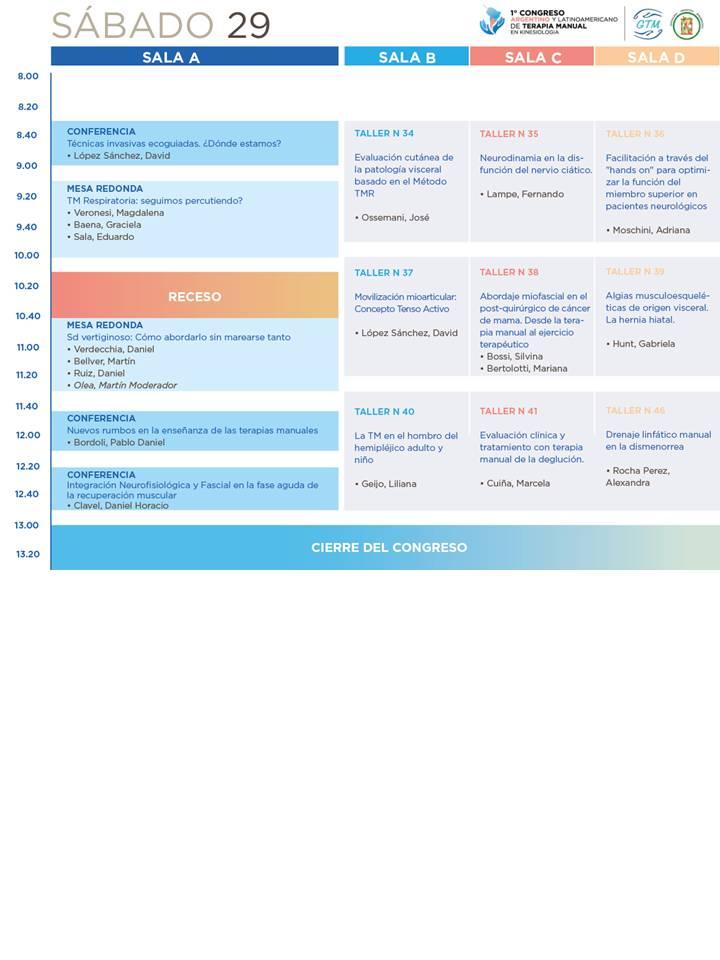 Congreso TMK - Programa preliminar - Sábado 29