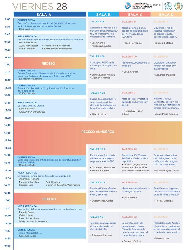 Congreso TMK - Programa preliminar - Viernes 28